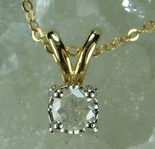 NEW Genuine Solid 9CT Yellow Gold, 0.15 Carat Natural Diamond Pendant with Chain