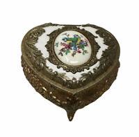 Vintage Japan Silver Tone Heart Shaped Jewelry Box Trinket Birds Footed