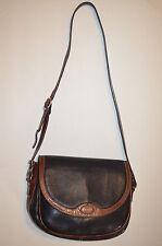 Vintage Bally Black and Brown Leather Ladies Cross body Bag