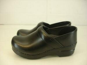 Womens 4.5 5 35 Dansko Professional Stapled Black Leather Clog Shoes Work Loafer