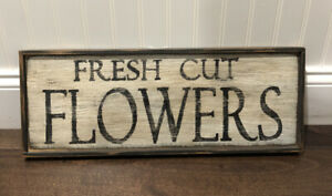"Wooden Frame ""Fresh Cut Flowers"" Art Decor Frame 20""x8"""
