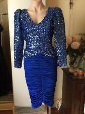 MR K Vintage Dress Wiggle Gather Skirt Blue Sequinned Bodice Long Sleeve Size 8