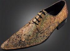 100% CHELSY hecho a Mano Italiano Diseño FRACASADO Oro Terciopelo Zapato 40