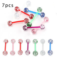 New Lot 7 Flexi Glitter Tongue Bars Piercing Nipple Bar Flexible Tounge F14
