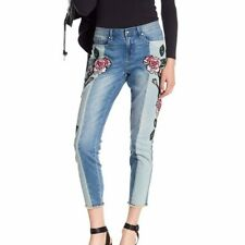 43ba2314b1b NEW WILLIAM RAST sz 30 SKINNY ANKLE JEANS EMBROIDERED ROSES FLORAL RAW HEMS