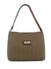 CANVAS DUAL INTERIOR COMPARTMENT SHOULDER BAG STRIPED COGNAC LEATHER