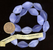 15 TRI SIDED LT SAPH ZEBRA Vintage Glass Beads 19m #64B