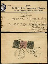 MALAYA SINGAPORE 1929 ILLUSTRATED COVER ADVERTISING ANNAMALAY CHETTYAR to INDIA