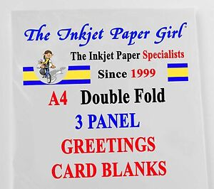 A4 240g Gloss/Matte Double Fold 3 Panel Greetings Card Blanks 24 sheets