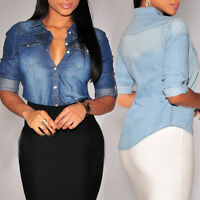 Retro Women Casual Blue Jean Denim Long Sleeve Casual T-Shirt Tops Blouse Jacket