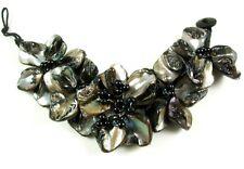 "1.6"" Black Flower Design Mother of Pearl Shell Beads bracelet 8"" size : CA312"