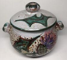 Pot / Boîte Vintage Décor Chardons Vallauris Au Chardons H 11 L 15 l 12 Cm