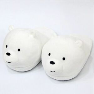 Polar Bear Slippers Winter Plush Toy Grizzly Panda Novelty Shoes Soft Animal Fur