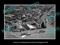 OLD LARGE HISTORIC PHOTO AERIAL VIEW MORPETH DOCK BIRKENHEAD ENGLAND c1940