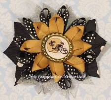 New Orleans Saints Black Gold Silver Bottle Cap Loopy Bow 4""