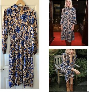 MARKS AND SPENCER M&S BLUE FLORAL MIDI TEA DRESS UK 12 HOLLY WILLOUGHBY NEW