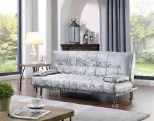 Crushed Velvet Fabric 3 Seat DESIGNER Sofa Bed Chrome Silver