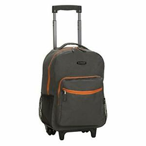 Luggage 17 Inches Rolling Backpack Wheeled School Travel Bag Carry-on Charcoal