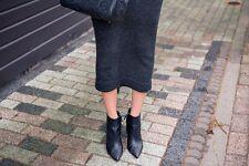 KALLISTE Tachonado Tobillo Botas De Cuero Negro Tamaño 39.5 Reino Unido 6.5