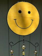 New listing Wind Chime, Happy Face, yellow, black metal,Kf32124