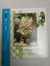 Christian Inspirations Birthday Card Fluffy Gray Kitten, Ivy, Watering Can
