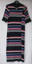 Ladies Marks and Spencer Limited Edition Navy Mix Striped Maxi Dress Size 18