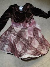 BONNIE JEAN GIRLS SIZE 4T - BROWN VELOUR LOOKING DRESS W/ PINK STRIPES - USED