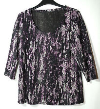PURPLE BLACK GREY STRETCH LADIES CASUAL PARTY TOP BLOUSE SIZE 12 M&S