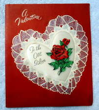 Vintage Valentine Card Satin Raised Heart With Roses One I Love #B6