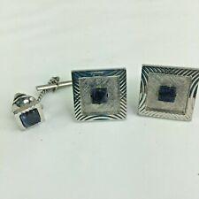 Dante Vintage Cufflinks silver tone square blue stone tie tac