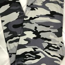 NWT Camo Print Buttery Soft Leggings Pants ONE SIZE OS 2-10 Gray S M L