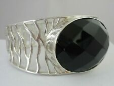 Stunning Unusual Modernist Very Large Sterling Silver & Onyx Bangle