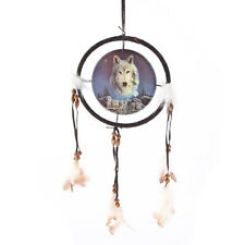 White Wolf Spirit Feather Bead Native Indian Style Dreamcatcher 16cm Pack & Moon