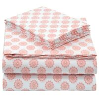 Pieridae Easy Care Cotton Blend Coral Global Dots Printed Fitted Bed Sheet Set