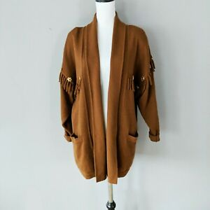 Escada Wool Knit Cardigan Brown Camel Oversized Fringe Gold Star Buttons 36