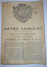 notificazione 1776 - VAL DI CECINA - Leopoldo Granduca di Toscana