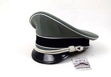 WW2 German Elite Whipcord Officer Hat Cap W White Chin Pipe Silver Cord