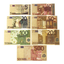 1 Set Euro Banknote Gold Foil Paper Money Crafts Collection Bank Note Currency