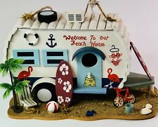 Bird House Wooden Retro Camper Trailer Welcome To Our Beach House Hanging