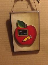 Apple #1 TEACHER 3 dimension put teacher name pencil teaching decor sign