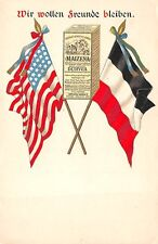MAIZENA, PRODUCT OF NATIONAL STARCH CO ADV PC, AMER & GERM FLAGS, c. 1904-14