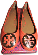 Tory Burch Reva Ballerina Flat Orange -Red Leather Ballet Shoe Gold Logo  10