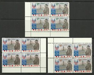LIBERIA 1962 USA VISIT AIR MAIL BLOCKS SET MINT