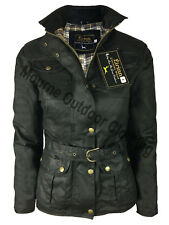 Womens Ladies Country Belted Wax Jacket 4 Pocket Waxed Cotton Waterproof Coat