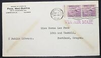US Airmail Cover Libertyville Washington Stamp 1935 USA Airmail Letter (H-10891