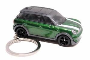 Custom Key Chain '11 Mini Cooper Countryman green w/white rally stripes