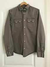 All Saints Stovepipe Slim Fit Shirt Western Cement Gray XS Men $178 Rockabilly