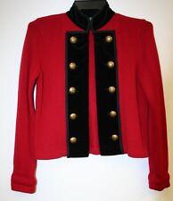 Vintage RALPH LAUREN Red Black Velvet Military Style Cardigan Jacket M