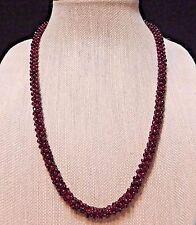 """ENDLESS Genuine Red Rhodolite Garnet Gemstone Bead Braided Cord 24"""" Necklace"""