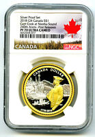 2018 CANADA $1 GILT GOLD SILVER DOLLAR NGC PF70 UCAM CAPTAIN COOK FIRST RELEASES